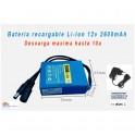 Bateria 12v 2600mAh Li-ion alta capacidad recargable